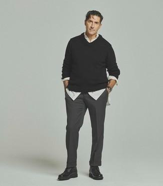 Мужской черный свитер с v-образным вырезом от River Island