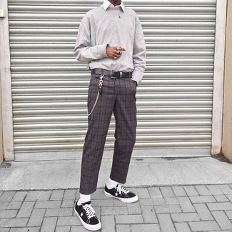 Мужские темно-серые шерстяные классические брюки в клетку от Hugo Boss