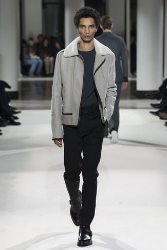 Мужской темно-серый свитер с круглым вырезом от s.Oliver Denim
