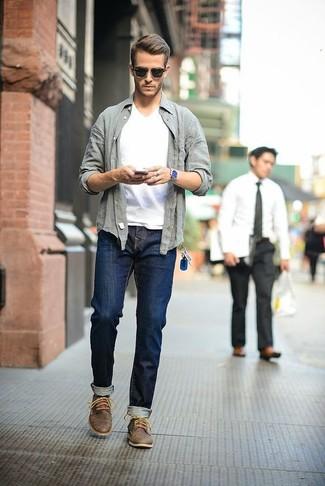 Мужская серая рубашка с длинным рукавом от Tom Farr