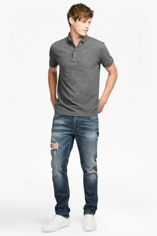Мужская серая футболка-поло от Occhibelli