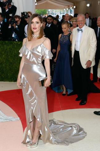 серебряное вечернее платье серебряные туфли серебряный клатч large 22678