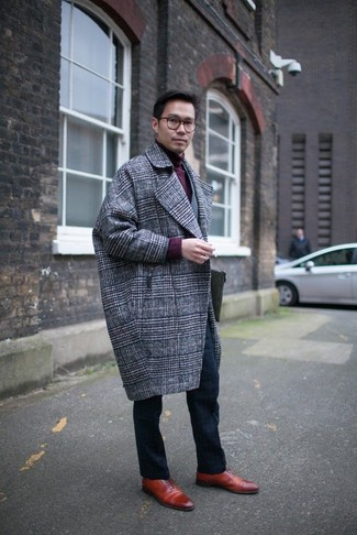 Серое длинное пальто в шотландскую клетку от Marni