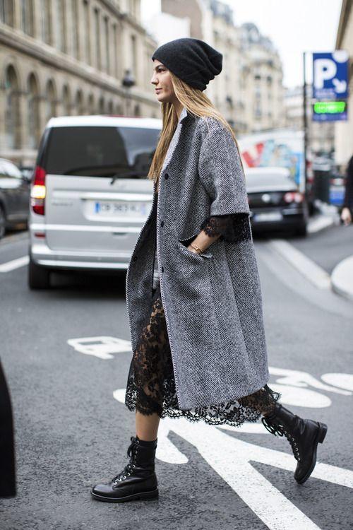 Пальто миди и платье