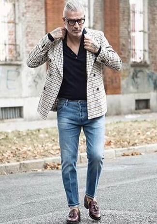 Мужской серый двубортный пиджак в шотландскую клетку от Z Zegna