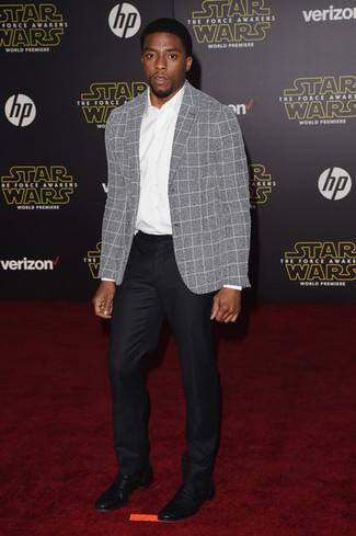 Мужской серый шерстяной пиджак в клетку от Calvin Klein 205W39nyc