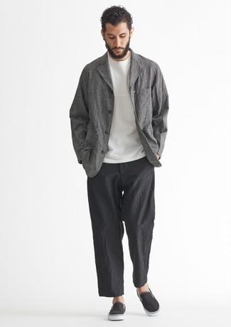 Мужские черные слипоны из плотной ткани от adidas Originals