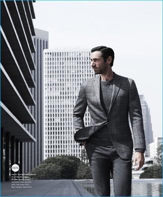 Мужской серый свитер с круглым вырезом от Celio