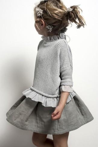 Как и с чем носить: серый свитер, серая юбка