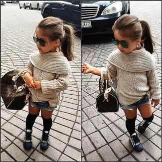 Детские синие джинсовые шорты для девочке от Miss Blumarine