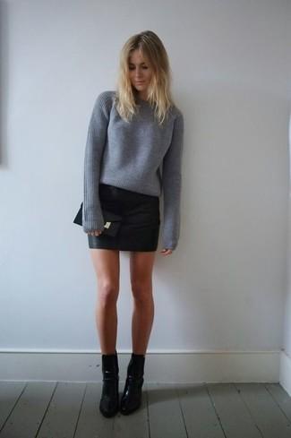 Женский серый свитер с круглым вырезом от Topshop