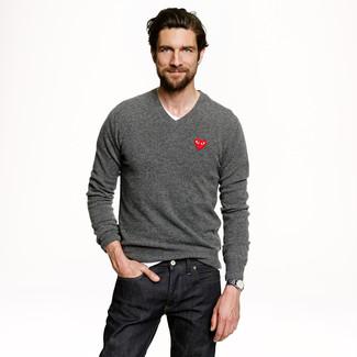 Мужской серый свитер с v-образным вырезом от Celio