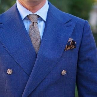 """Как и с чем носить: синий двубортный пиджак, голубая классическая рубашка, серый галстук в шотландскую клетку, темно-синий нагрудный платок с """"огурцами"""""""