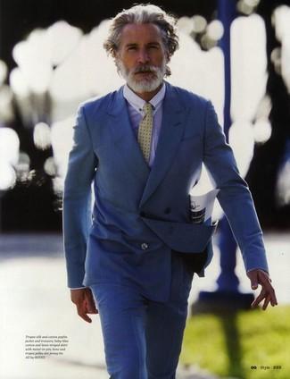 синий двубортный пиджак голубая классическая рубашка синие классические брюки желтый галстук large 2176
