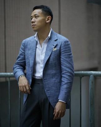 Как и с чем носить: синий пиджак в шотландскую клетку, белая рубашка с длинным рукавом в вертикальную полоску, темно-серые классические брюки, желтый нагрудный платок