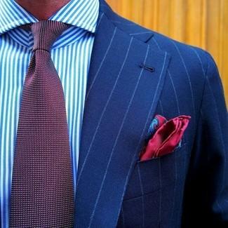 """Как и с чем носить: синий пиджак в вертикальную полоску, бело-синяя классическая рубашка в вертикальную полоску, темно-красный галстук в горошек, красный шелковый нагрудный платок с """"огурцами"""""""