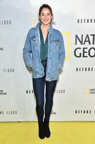 синяя джинсовая куртка темно бирюзовая блузка с длинным рукавом темно синие джинсы скинни large 22528