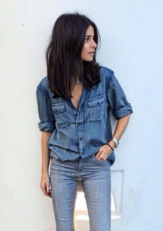 Женская синяя джинсовая рубашка от Pinko