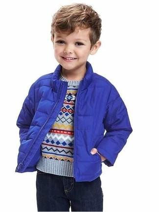 Как и с чем носить: синяя куртка, голубой свитер, темно-синие джинсы