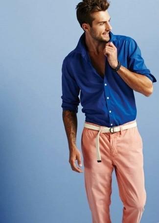 синие брюки и синяя рубашка для девушки
