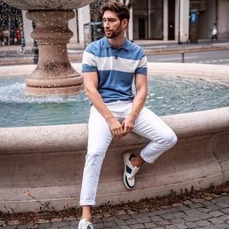 Мужская синяя футболка-поло с принтом от Atributika & Club™