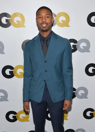 темно бирюзовый пиджак темно синяя классическая рубашка темно синие классические брюки large 15772