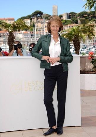 темно зеленый бомбер белая классическая рубашка черные классические брюки large 13311