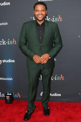 темно зеленый костюм черная классическая рубашка черные кожаные лоферы large 26365