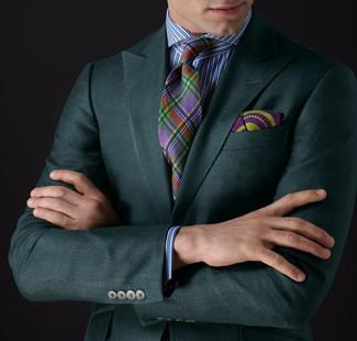 Как и с чем носить: темно-зеленый пиджак, бело-синяя классическая рубашка в вертикальную полоску, разноцветный галстук в шотландскую клетку, пурпурный нагрудный платок с принтом