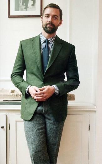 темно зеленый пиджак бело темно синяя классическая рубашка темно зеленые классические брюки large 1522
