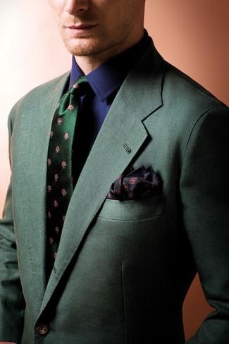 Оливковый галстук с цветочным принтом: с чем носить и как сочетать мужчине: Несмотря на то, что это классический ансамбль, образ из темно-зеленого пиджака и оливкового галстука с цветочным принтом неизменно нравится стильным мужчинам, покоряя при этом сердца девушек.