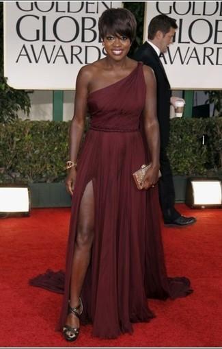 темно красное вечернее платье оливковые босоножки на каблуке золотой клатч large 22908
