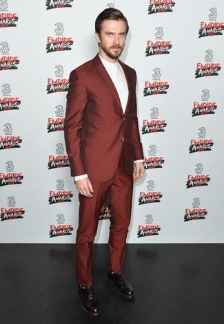 темно красный костюм белая классическая рубашка темно красные кожаные оксфорды large 24834