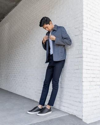Мужские черные кожаные кеды от Montefiori