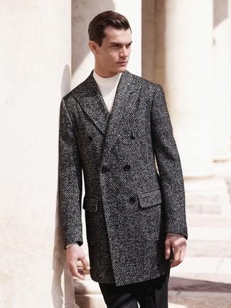 """Темно-серое длинное пальто с узором """"в ёлочку"""" от Saint Laurent"""