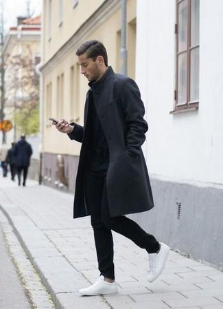 Темно-серое длинное пальто от Acne Studios
