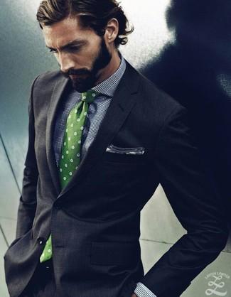 Черный костюм салатовый галстук фото