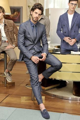 Мужские темно-серые замшевые мокасины от Brioni   Где купить и с чем ... 1c4b33505fd