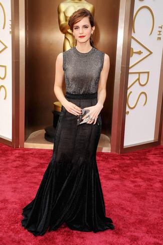 темно серый топ без рукавов черная длинная юбка серебряный кожаный клатч large 1390
