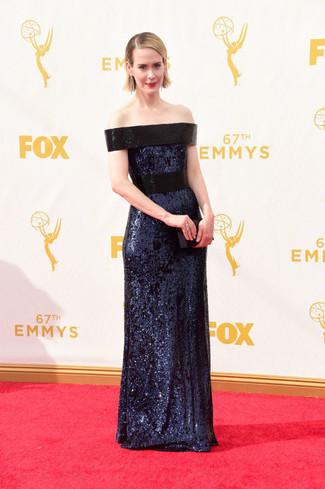 темно синее вечернее платье с пайетками черный сатиновый клатч large 13693
