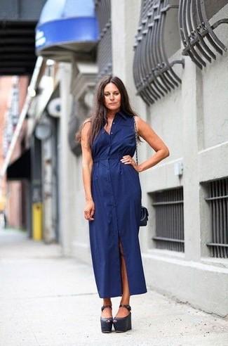 платья модные синие фото