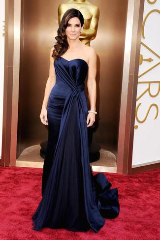 темно синее шелковое вечернее платье large 1388