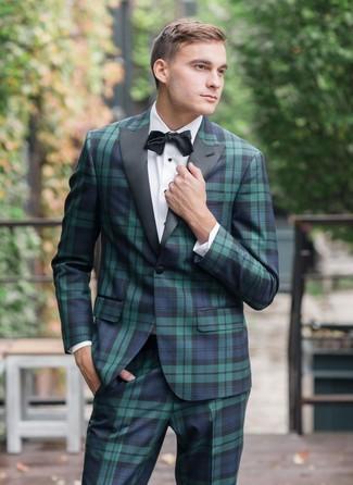 Как и с чем носить: темно-сине-зеленый костюм в шотландскую клетку, белая классическая рубашка, черный галстук-бабочка
