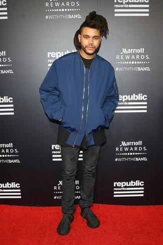 темно синий бомбер черная футболка с круглым вырезом черные джинсы large 26278