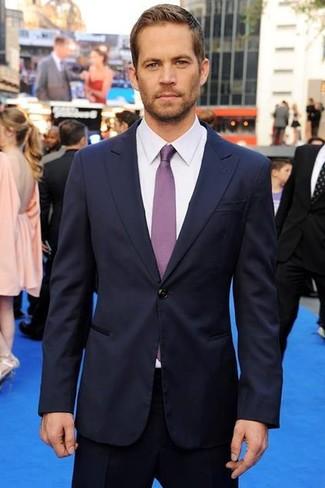 темно синий костюм белая классическая рубашка фиолетовый галстук large 633