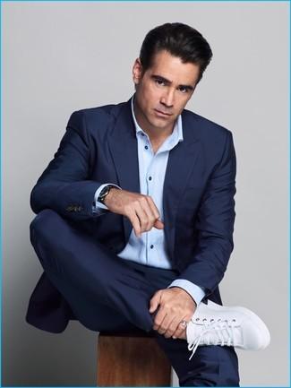 темно синий костюм голубая рубашка с длинным рукавом белые кожаные низкие кеды large 20127