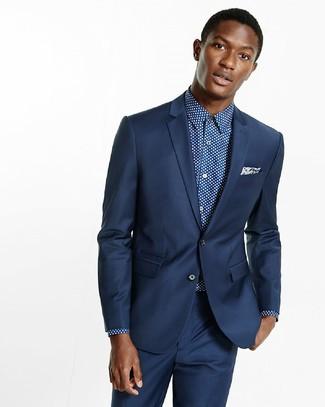"""Как и с чем носить: темно-синий костюм, темно-сине-белая классическая рубашка в горошек, темно-синий нагрудный платок с """"огурцами"""""""