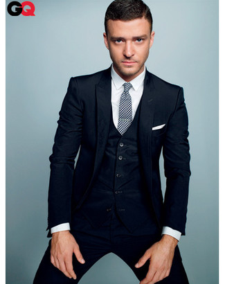 темно синий костюм тройка белая классическая рубашка бело черный галстук large 827