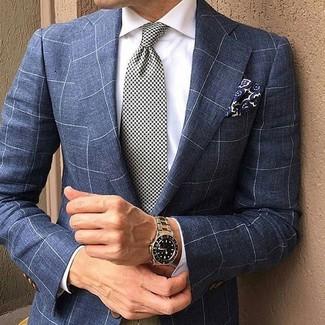 """Как и с чем носить: темно-синий пиджак в клетку, белая классическая рубашка, бело-черный галстук с рисунком """"гусиные лапки"""", темно-синий нагрудный платок с цветочным принтом"""