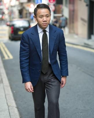 Как и с чем носить: темно-синий пиджак, белая классическая рубашка, темно-серые классические брюки, темно-зеленый галстук